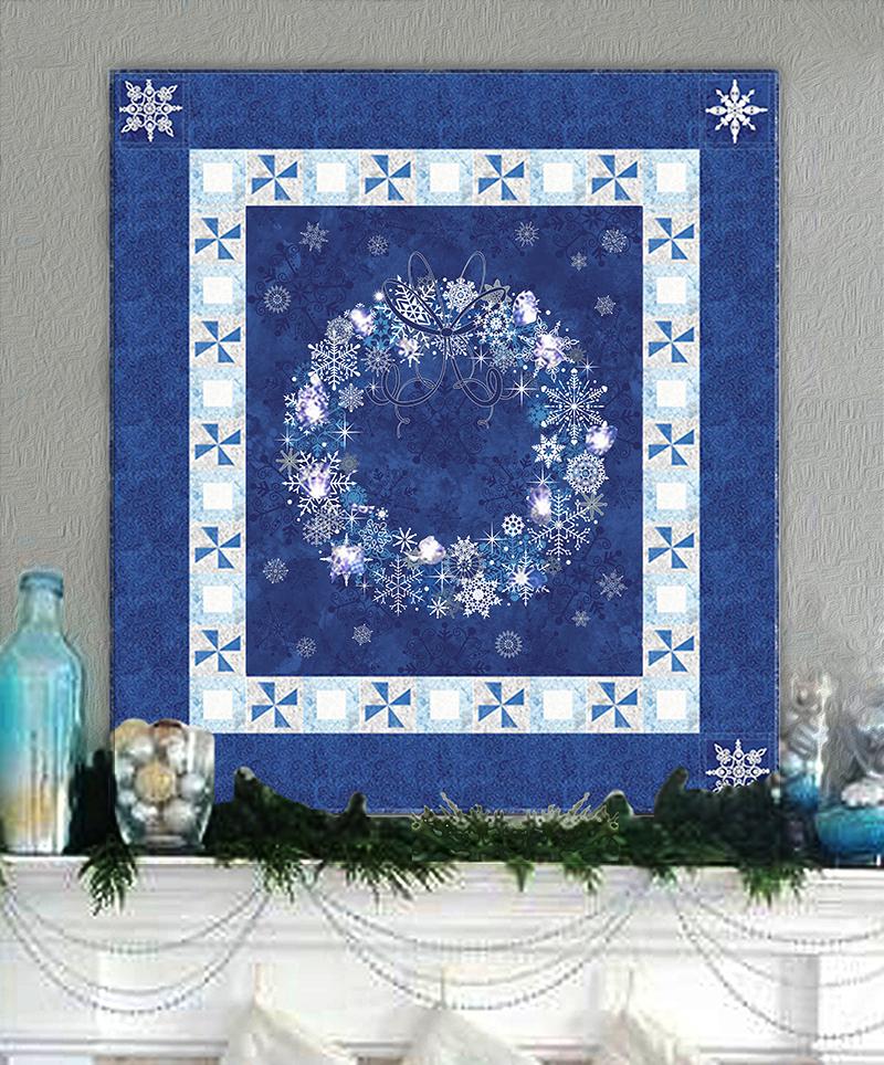 Midnight Blue Amp Twinkling Lights Christmas Wreath Wall