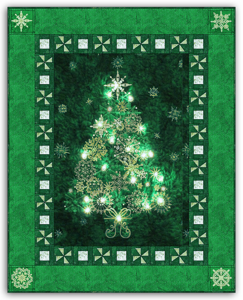 Green Christmas Tree Bright Lights Starlight Christmas Wallhanging Quilt Kit Plus Optional Swarovski Hotfix Crystal Pack By Aspen Peak Designs