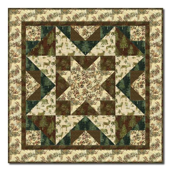 Last One! Rustic Woodland Star Batik Quilt Kit By Homespun