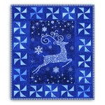 Up Up and Away!  Blue Reindeer Quilt Kit with lights and Optional Swarovski Hot Fix Cyrstal Pack