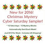New for 2016!  Christmas Mystery Cyber Saturday Sampler - Starts Sept 17!