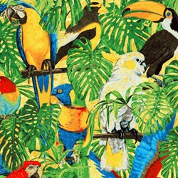 "Fat Quarter - 18"" x 21"" - Rainforest Romp- Birds - by Linda Ludovico for Stonehenge"