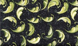 """30"""" Remnant Piece- Roses Quilting Fabric - Green Feathers on Black"""