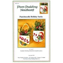 Punchneedle Holiday Sacks Pattern - Plum Pudding Needleart
