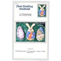 Punchneedle Eggs Pattern - Plum Pudding Needleart