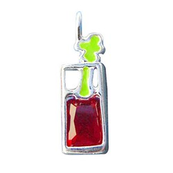 Sterling Silver & Red Cubic Zirconia Bloody Mary Drink