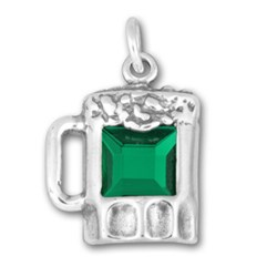 Sterling Silver Green Cub Zirconia Beer Mug Charm