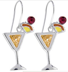Sterling Silver With Cubic Zirconia and Enamel Mai Tai Earrings