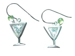 Sterling Silver Dry Martini with an Olive Earrings