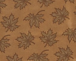 """End of Bolt -  78"""" x 108"""" - Light Brown Leaves on Dark Tan - By Kansas Troubles for Moda"""