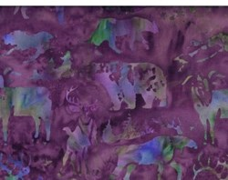 Island Batik - Green Acres - Multi Color & Purple Woodland Animals