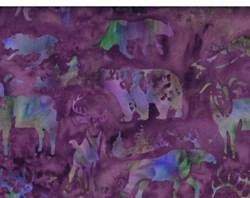 Island Batik - Green Acres - Multi Color & Purple Woodland Animals