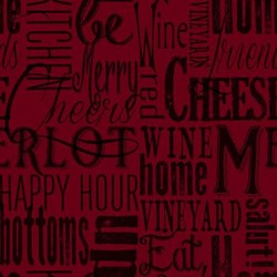 Vintage  1132-85  From Henry Glass Fabrics - Word Play - Burgundy