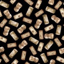 "End of Bolt - 72"" - Vintage  1136-99 From Henry Glass Fabrics - Corks - Black"