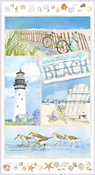 Coastal Paradise Collection - Seaside Panel 1498p-11- by Barb Tourtillotte for Henry Glass Fabric