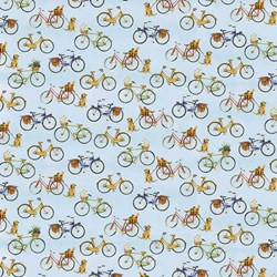 Coastal Paradise Collection - Bicycles on Blue - 1500-11  - by Barb Tourtillotte for Henry Glass Fabric