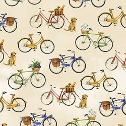 "End of Bolt - 120"" - Coastal Paradise Collection -Bicycles on Tan 1500-44 - by Barb Tourtillotte for Henry Glass Fabric"