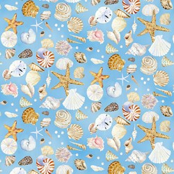 "End of Bol t- 87"" - Coastal Paradise Collection - Shells on Blue 1505-11  - by Barb Tourtillotte for Henry Glass Fabric"