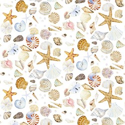 Coastal Paradise Collection - Shells on Cream 1505-14  - by Barb Tourtillotte for Henry Glass Fabric
