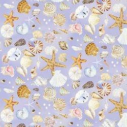"17"" Remnant - Coastal Paradise Collection - Shells on Lavendar - 1505-55  - by Barb Tourtillotte for Henry Glass Fabric"