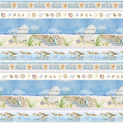 "End of Bolt - 52"" - Coastal Paradise Collection - Border Stripe- 1506-11  - by Barb Tourtillotte for Henry Glass Fabric"