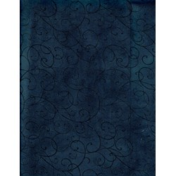 Bella Suede Look Fabric - Black Swirls on Blue- by P&B Textiles