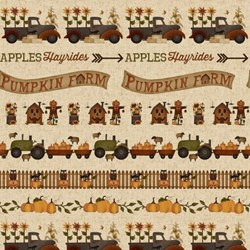 "22"" Remnant - Pumpkin Farm  - Border Print - Henry Glass Fabrics"
