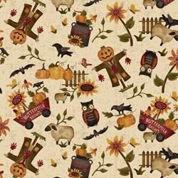 """End of Bolt - 62"""" - Pumpkin Farm - Fall Medley - 2052-44 Henry Glass Fabrics"""