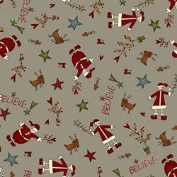 Believe - Words -Santa Toss/Believe on Gray - by Jan Rae Nesbitt for Henry Glass Fabrics
