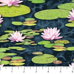 Blue Heron Lily Pad  Fabric #21821-49   by Northcott
