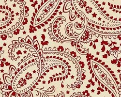 Gettysburg Era  Red Paisley on Cream  by Sara Morgan by Washington Street Studios for P&B Fabrics