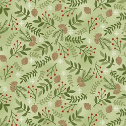 Wilmington Prints – Holiday Meadow – Leaves, Berries, Pinecones – Green by Pink Chandelier 70433-773