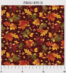 "18"" Remnant - Fall Bounty Metallic Fabric - Leaves & Pinecones on Red - by P&B Textiles"