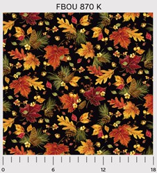 "26"" Remnant - Fall Bounty Metallic Fabric - Leaves & Pinecones on Black - by P&B Textiles"