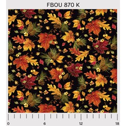 Fall Bounty Metallic Fabric - Leaves & Pinecones on Black - by P&B Textiles