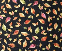 "18"" Remnant - Fall Bounty Metallic Fabric - Black Leaves- by P&B Textiles"