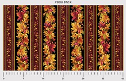"24"" Remnant -  Fall Bounty Metallic Fabric - Red Leaves- by P&B Textiles"