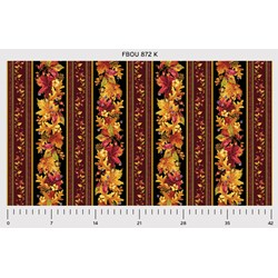 """24"""" Remnant -  Fall Bounty Metallic Fabric - Red Leaves- by P&B Textiles"""