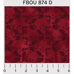 Fall Bounty Metallic Fabric - Red tonal floral grid - by P&B Textiles