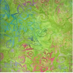 Indo Batiks - Lime Paisley - by A.E.Nathan Co