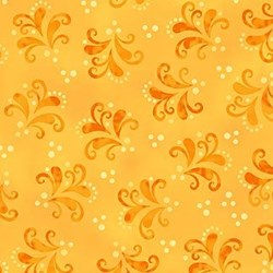 Orange Flourish on Yellow-Anastasia by Jane Spolar