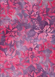 "22"" Remnant - Anthology Art Inspired Collection Hand Made Batik -Purple Floral"