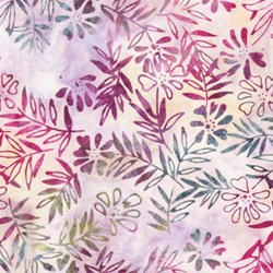 Anthology Hand Made Batik - Floral Sprig Print on Pinks, Roses and Greens