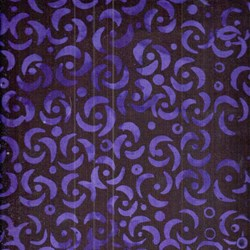 """End of Bolt - 36"""" -Anthology Hand Made Batik - Black and Purple Print"""