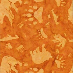 Anthology Batiks - The Plains People of Turtle Island - Bears on Burnt Orange