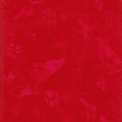Anthology Batiks - The Plains People of Turtle Island - Wolf Print on Red