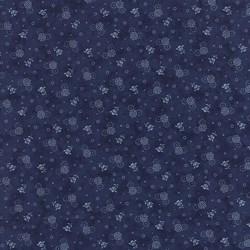 "End of Bolt - 49"" - Vintage Find!   Austin Bluebirds by Minick & Simpson for Moda - Blue Floral Print"