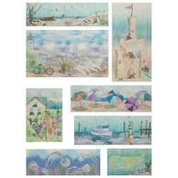 Beach Walk Fabric Art Printed Panels Set