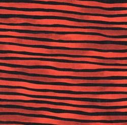 "End of Bolt - 77"" - Vintage Find!  Provence Orange/Black Wavy stripe by Blank Fabrics"