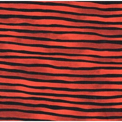 "End of Bolt - 77"" - Vintage Find!  Provence Orange/Black Wavy stripe by Blank Fabrics"